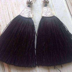 Tinsel Earrings (Black)