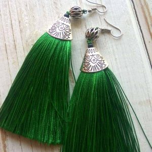 Green Tinsel Earrings