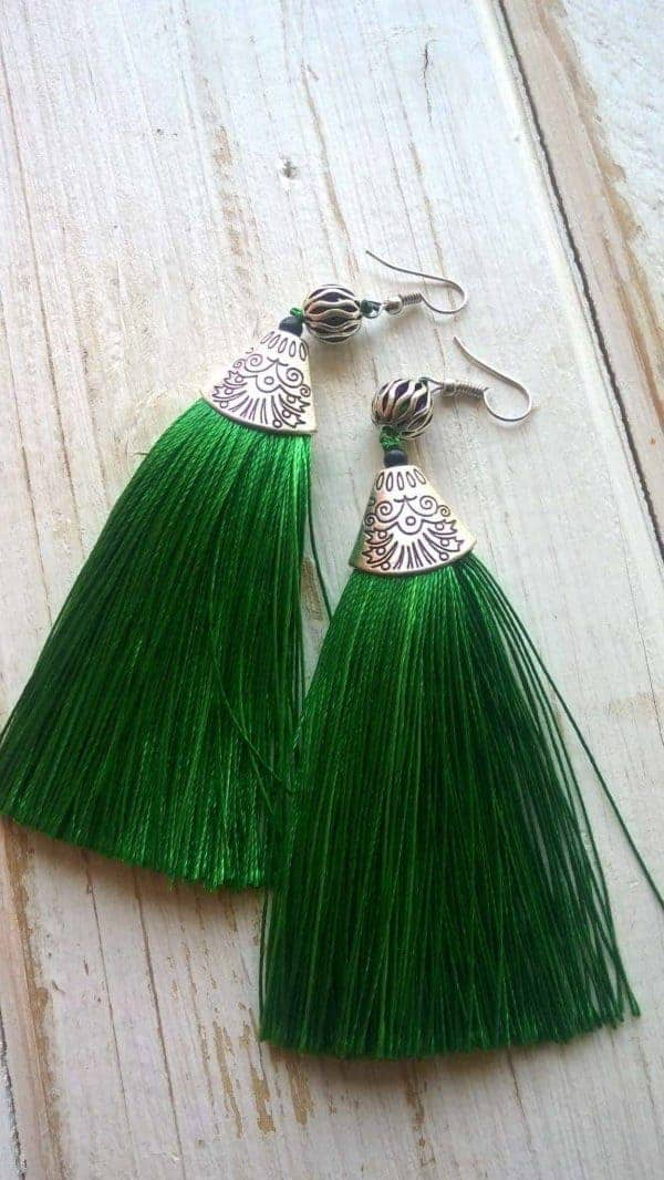 Green Tinsel Earrings