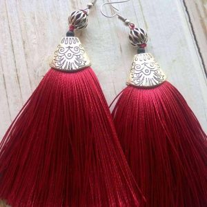 Red Tinsel Earrings