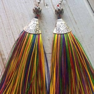 Multi-Colored Tinsel Earrings