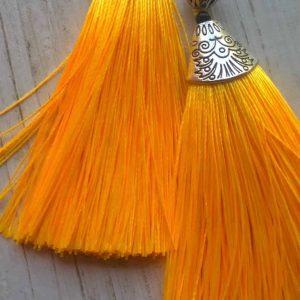 Orange Tinsel Earrings