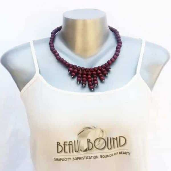beaded necklace maroon