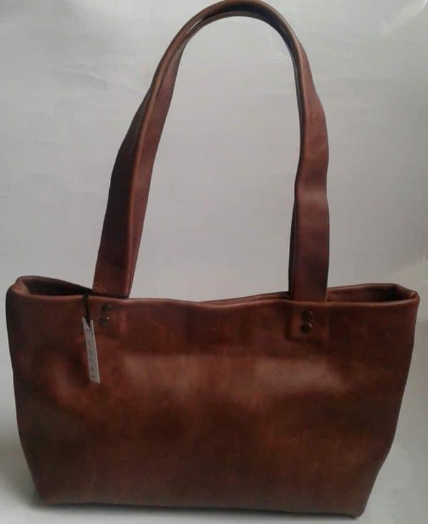 Funcat Genuine Leather Brown Handbag