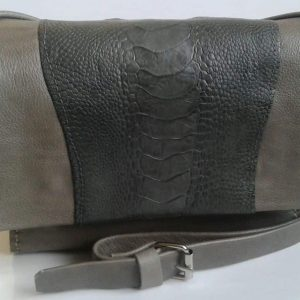 Leather Sling-bag with Ostrich Neck-piece