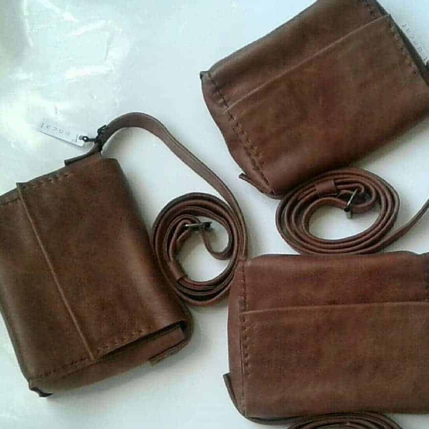 Leather Brown cross-body casual bag