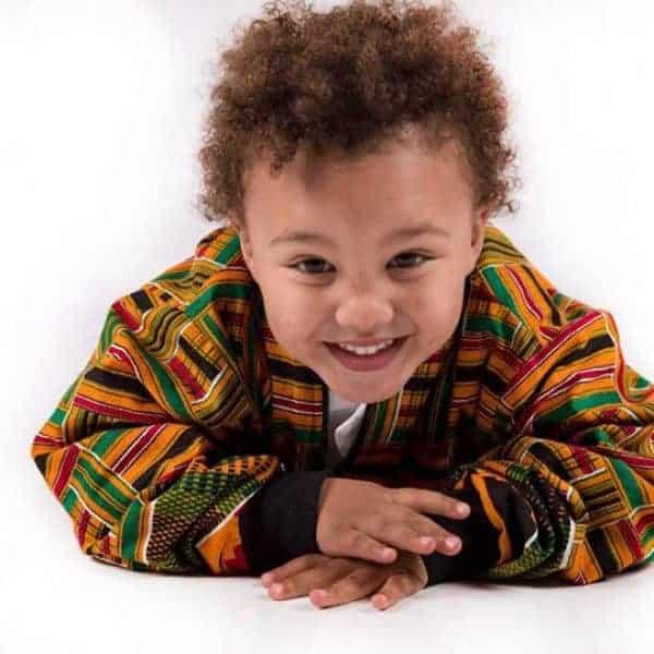 Kiddies Kente Strips Bomber Jacket