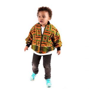Kiddies Kente Strips Bomber Jacket
